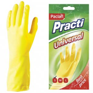 "Перчатки хоз. резиновые PACLAN ""Universal"" с х/б напылением, размер S (малый), желтые, шк78878"