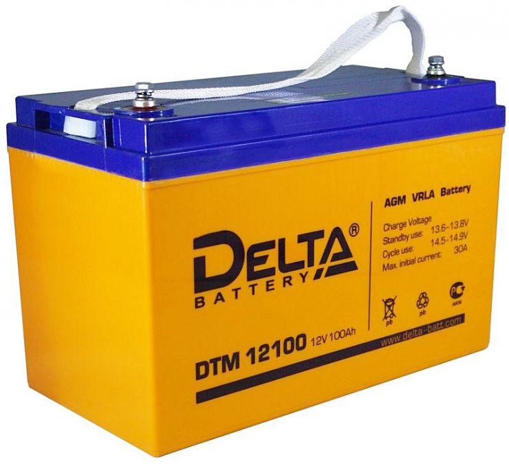 Аккумулятор свинцово-кислотный АКБ DELTA (Дельта) DTM 12100 L 12 Вольт 100 Ач