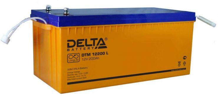 Аккумулятор свинцово-кислотный АКБ DELTA (Дельта) DTM 12200 L 12 Вольт 200 Ач