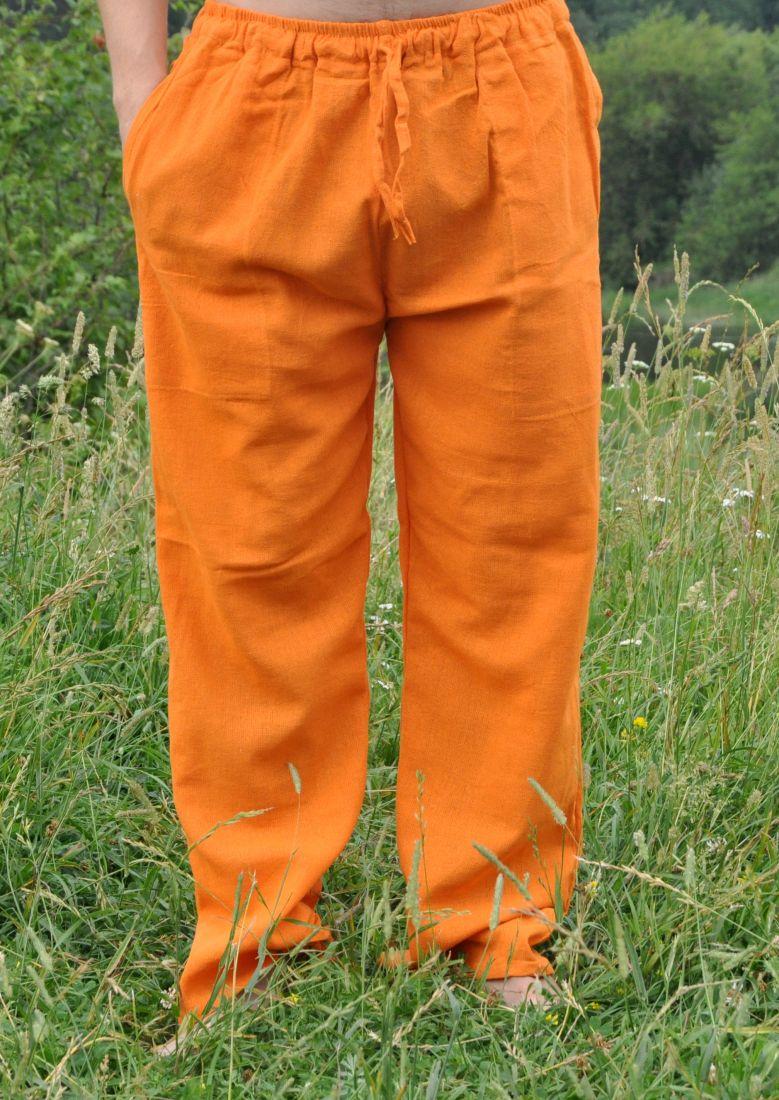 Оранжевые летние штаны из органического хлопка (отправка из Индии)