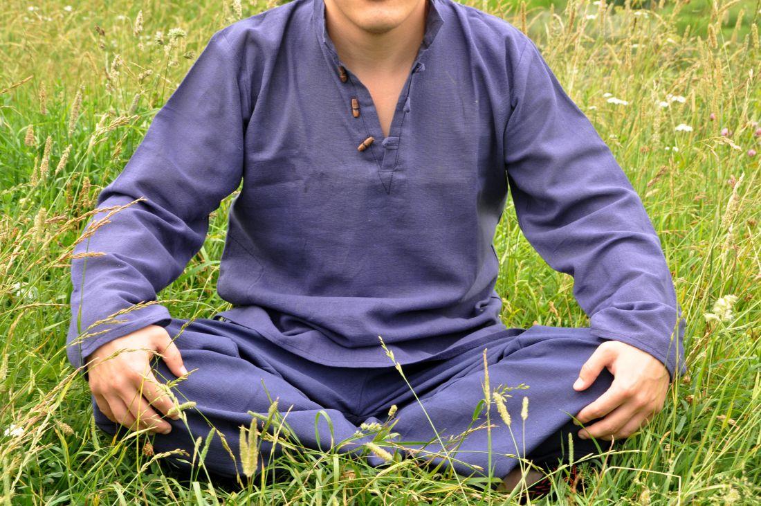 Синяя мужская рубашка из органического хлопка (отправка из Индии)