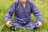 Мужская рубашка из органического хлопка синего цвета, Индия