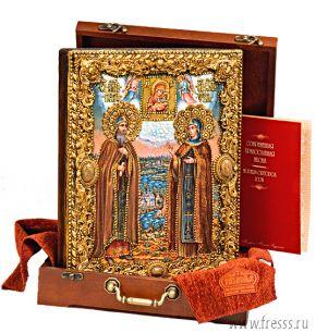"""Икона """"Петр и Феврония, муромские"""" 25 х 32 см, роспись по дереву, позолота, самоцветы"""