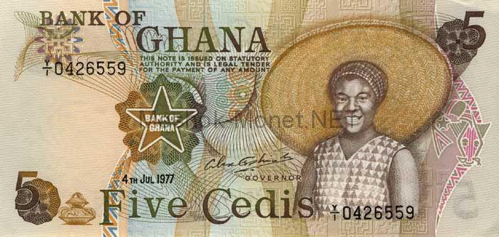 Банкнота Гана 5 седи 1977 год