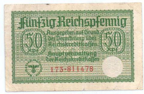 50 рейхпфеннигов 1939-1945 г. Германия для оккупированных территорий.