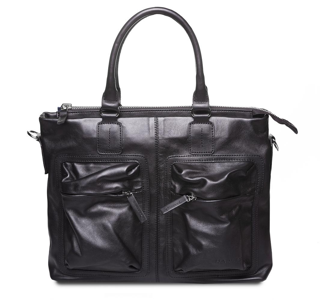 HADLEY TORN BLACK кожаная деловая сумка