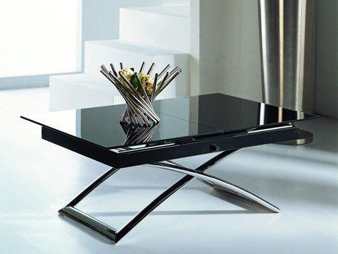 Стол трансформер  B 2275 NEW черное стекло