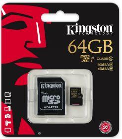 Карта памяти KINGSTON 64GB microSDXC Class10 + SD adapter