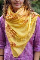 желтый индийские шарф из хлопка, купить в Москве в интернет магазине