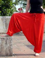 штаны афгани из вискозы красного цвета, купить в Москве