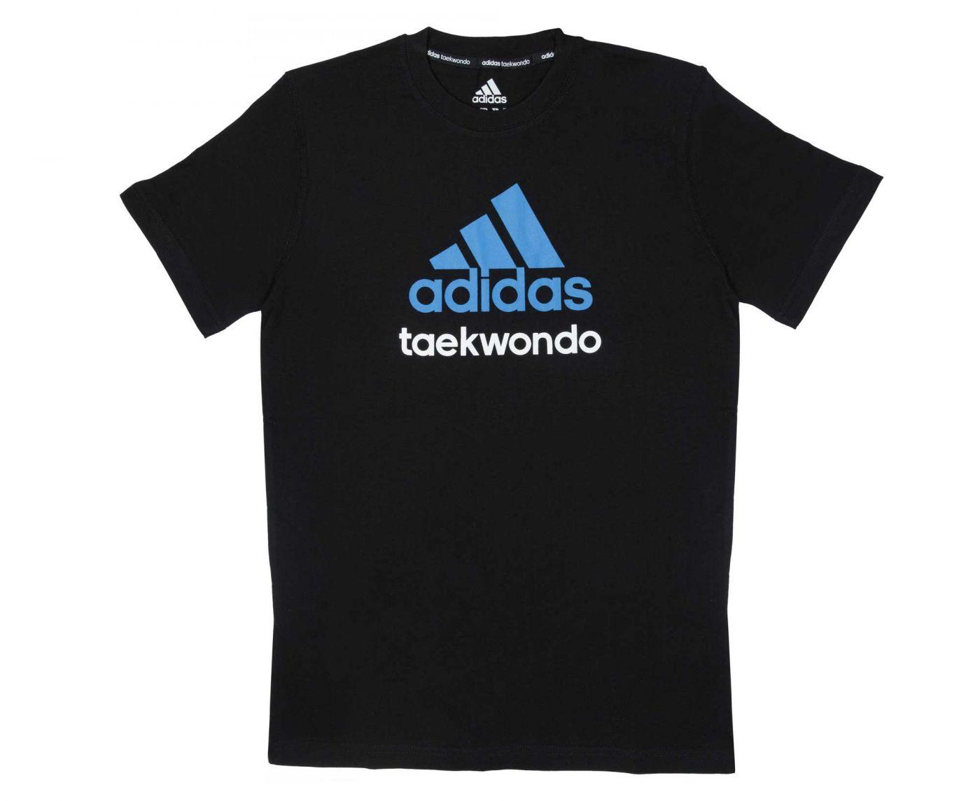 Футболка Adidas Community T-Shirt Taekwondo чёрно-синяя, размер S, артикул adiCTTKD