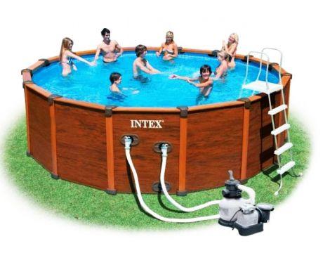 Каркасный бассейн с  внешним сайдингом 569х135см + аксессуары, INTEX