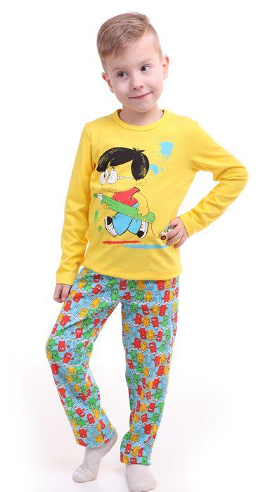 Желтая пижама для мальчика Умный модник