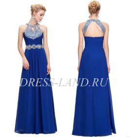 Синее вечернее платье со стразами