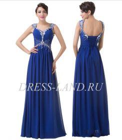 Синее вечернее платье на шнуровке