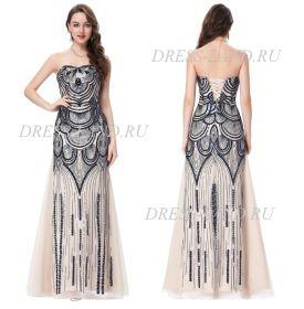 Черно-бежевое платье, расшитое пайетками