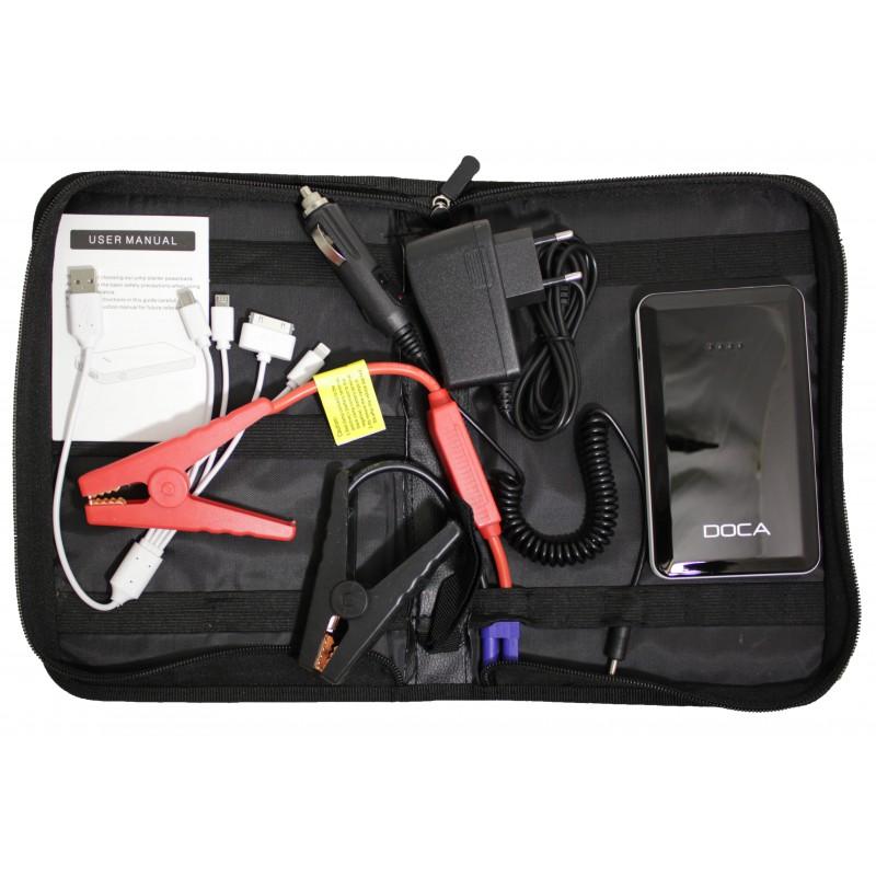 Автомобильное портативное пуско-зарядное устройство с пауэрбанком DOCA (5V-2A, 12V Jump start, 8000mAh)