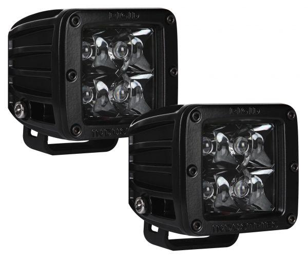 Квадратная светодиодная фара Rigid Industries Dually (4 светодиода) Дальний свет (комплект из 2шт.) (Чёрная оптика)