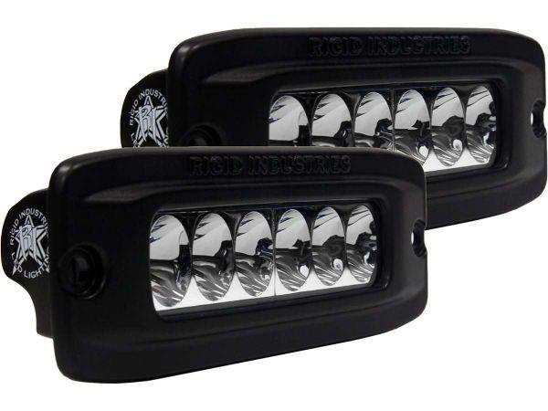 Однорядная светодиодная фара Rigid Industries SRQ2 H/L (6 диодов) - Врезная установка - Водительский свет, комплект 2 шт.
