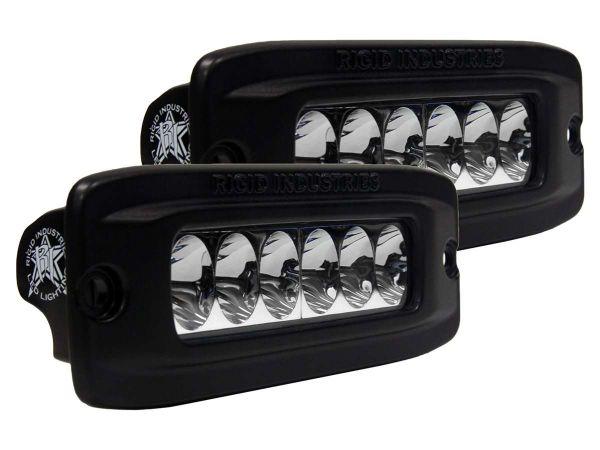 Врезная однорядная светодиодная фара Rigid Industries SRQ2 (6 диодов) - Врезная установка - Водительский свет  комплект 2 шт. - Янтарный