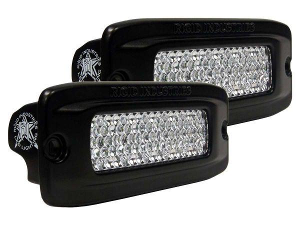 Врезная однорядная светодиодная фара Rigid Industries SRQ2 (6 диодов) - Врезная установка - Рабочий свет  комплект 2 шт. - Янтарный