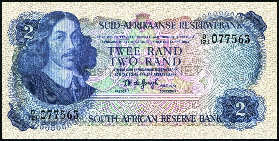 Банкнота Южная Африка 2 ранда 1974 год
