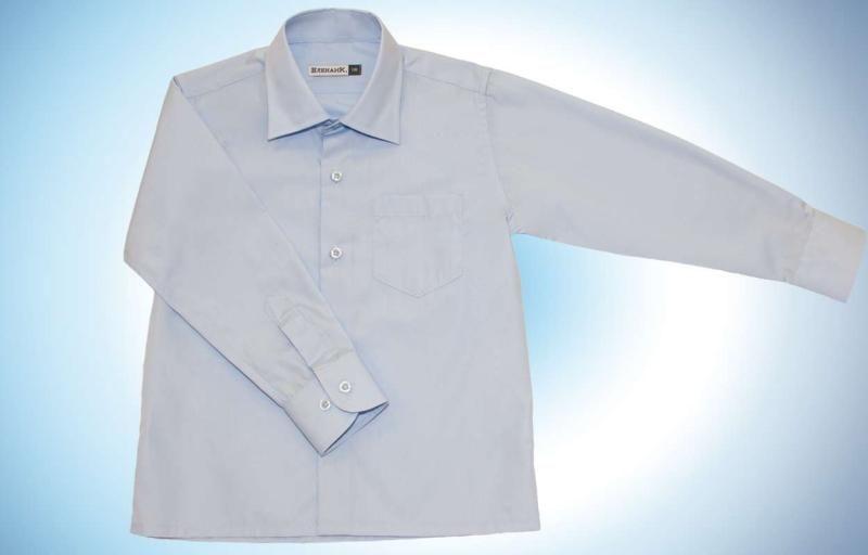 Голубая рубашка с карманом для мальчика 10 лет