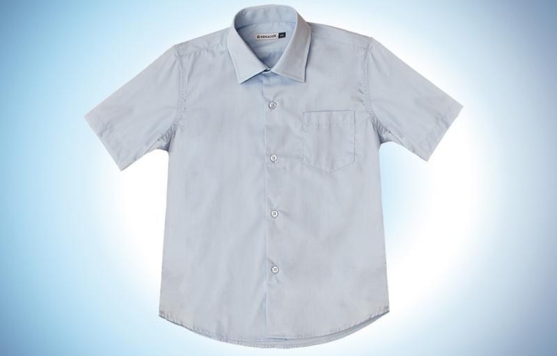 Голубая рубашка с коротким рукавом