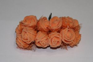 Цветы из фоамирана с органзой, 25 мм, 6х12шт, цвет: оранжевый