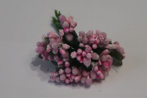 Тычинки в связках перламутровые, цвет: светло-розовый, 1уп = 6 связок (1 связка = 11-12 букетиков)