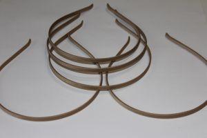 Ободок металл обтянутый тканью 5 мм, цвет: бежевый (1уп = 12шт), Арт. ОБ0037
