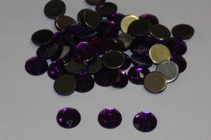 Стразы круглые, граненные, 14 мм, цвет № 04 фиолетовый (1 уп = 100 шт)