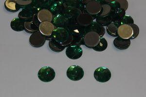 Стразы круглые, граненные, 12 мм, цвет № 09 зеленый (1 уп = 100 шт)
