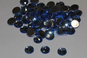 Стразы круглые, граненные, 14 мм, цвет № 15 голубой (1 уп = 100 шт)