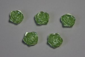 "Кабошон ""Розочка"", диаметр 18 мм, цвет зеленый (1 уп = 50 шт)"