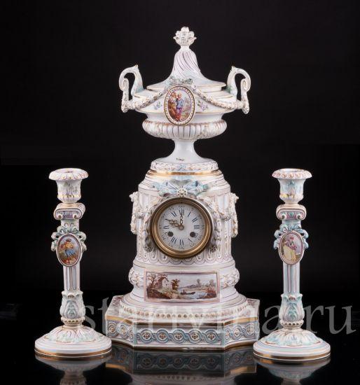 Изображение Часы с вазоном и подсвечниками, Majorelle Nancy, Франция, 19 в