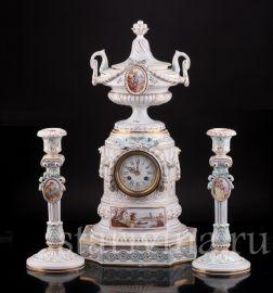 Часы с вазоном и подсвечниками, Majorelle Nancy, Франция, 19 в