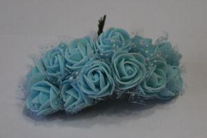`Цветы из фоамирана с органзой, 25 мм, 1 уп = 11-12 шт, цвет: голубой