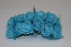 `Цветы из фоамирана с органзой, 25 мм, 11-12 цветков, цвет: светло-синий