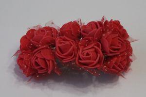 `Цветы из фоамирана с органзой, 25 мм, 11-12 цветков, цвет: красный