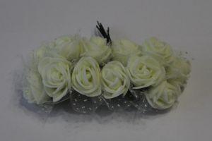 `Цветы из фоамирана с органзой, 25 мм, 11-12 цветков, цвет: кремовый