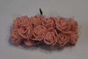`Цветы из фоамирана с органзой, 25 мм, 11-12 цветков, цвет: персиковый