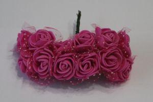`Цветы из фоамирана с органзой, 25 мм, 11-12 цветков, цвет: ярко-розовый