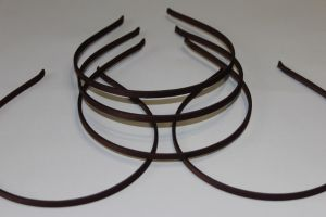 `Ободок металл обтянутый тканью 5 мм, цвет: темно-коричневый