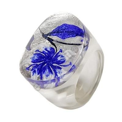Кольцо LILY голубое