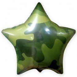 Звезда камуфляж, хаки, милитари шар фольгированный с гелием