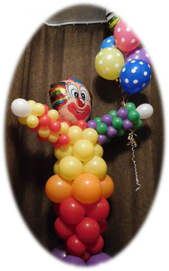 Клоун с фонтаном с цифрой