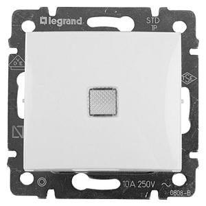Выключатель одноклавишный с подсветкой, 10A Legrand Valena (Белый)