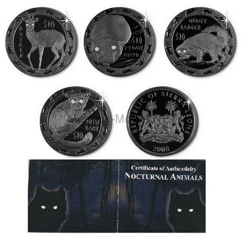 Набор из 4-х монет по 10 долларов СЬЕРРА ЛЕОНЕ 2008 года. НОЧНЫЕ ЖИВОТНЫЕ.