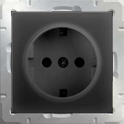 Розетка WERKEL с зазем.WL08-SKG-01-IP20 черн.